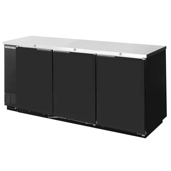 "Beverage Air BB78F-1-B 78"" Black Food Rated Solid Door Back Bar Cooler with Three Doors"