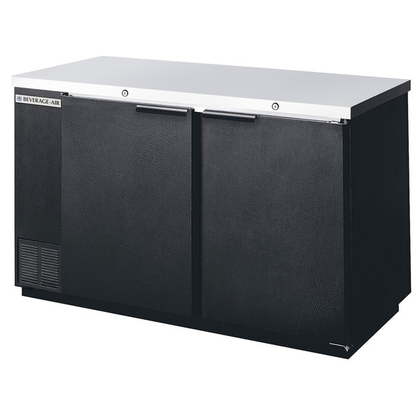 "Beverage Air BB58F-1-B 58"" Black Food Rated Solid Door Back Bar Cooler with Two Doors"