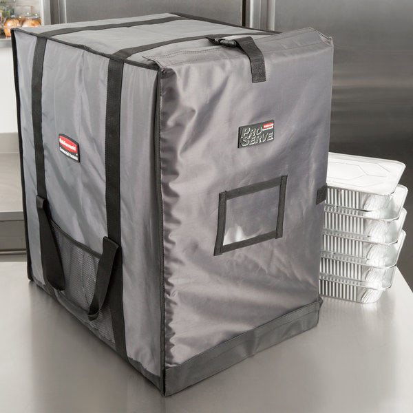 "Rubbermaid FG9F1400CGRAY ProServe Insulated Food Pan Carrier End Load Full Size Gray Nylon 27"" x 21 1/2"" x 29"" Main Image 6"