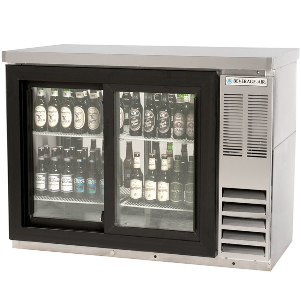 """Beverage-Air BB48HC-1-F-PT-S-27 48"""" Stainless Steel Food Rated Pass-Through Sliding Glass Door Back Bar Refrigerator with 2"""" Thick Top Main Image 1"""