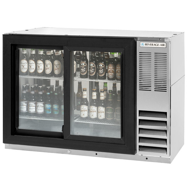 """Beverage-Air BB48GSYF-1-S-PT-LED 48"""" Stainless Steel Food Rated Pass-Through Sliding Glass Door Back Bar Refrigerator"""