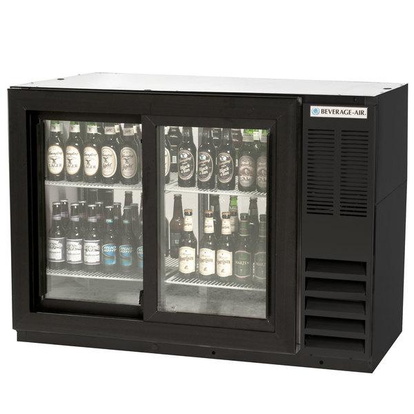 "Beverage-Air BB48GSYF-1-B-PT-LED 48"" Black Food Rated Pass-Through Sliding Glass Door Back Bar Refrigerator Main Image 1"