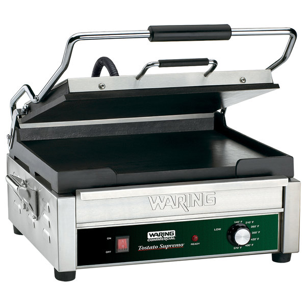 """Waring WFG275 Tostato Supremo Smooth Top & Bottom Sandwich Toasting Grill - 14"""" x 14"""" Cooking Surface - 120V, 1800W"""
