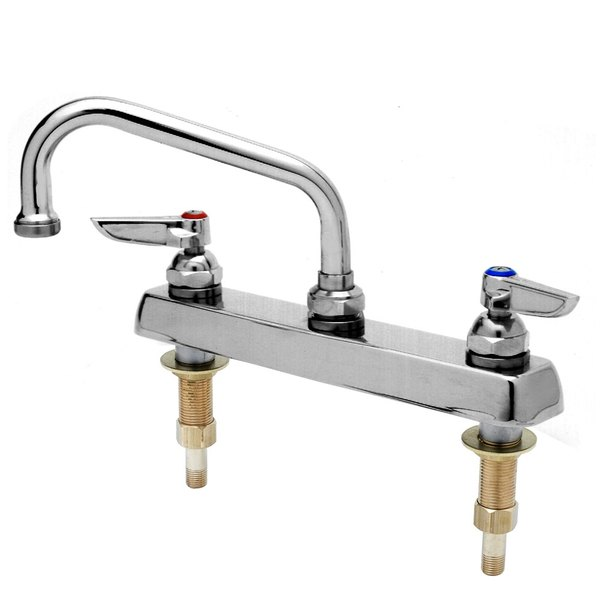 "T&S B-1120-XS Deck Mount Workboard Mixing Faucet with 8"" Centers, 6"" Swing Nozzle, Escutcheon, Stream Regulator, and Tailpieces"