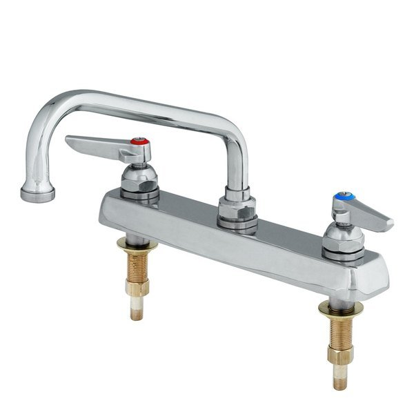 """T&S B-1123-XS Deck Mount Workboard Mixing Faucet with 8"""" Centers, 12"""" Swing Nozzle, Escutcheon, and Tailpieces"""
