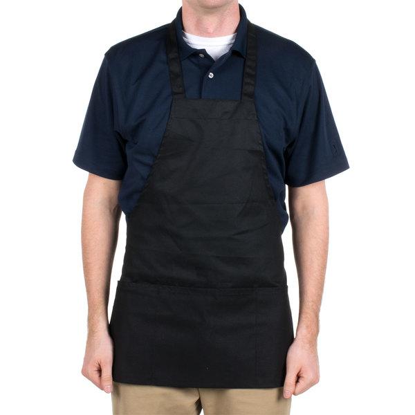"Choice Black Full Length Bib Apron with Pockets - 25""L x 28""W"