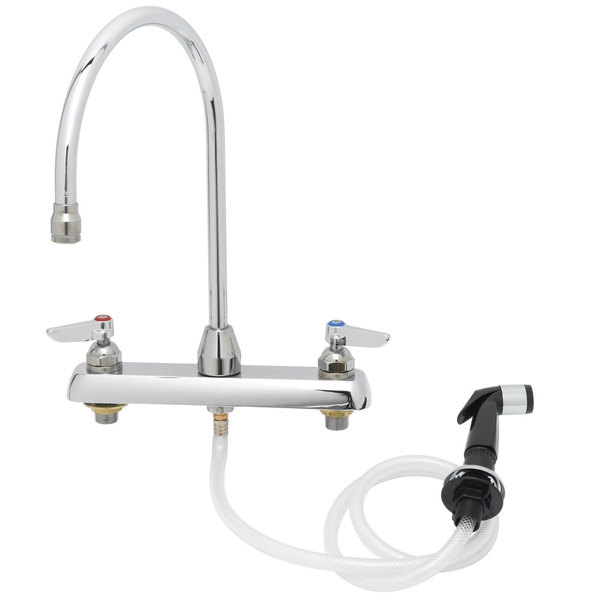 """T&S B-1172-TS Deck Mount Workboard Faucet with 8"""" Centers, 13 3/4"""" Gooseneck, Aerator, and Sidespray Main Image 1"""