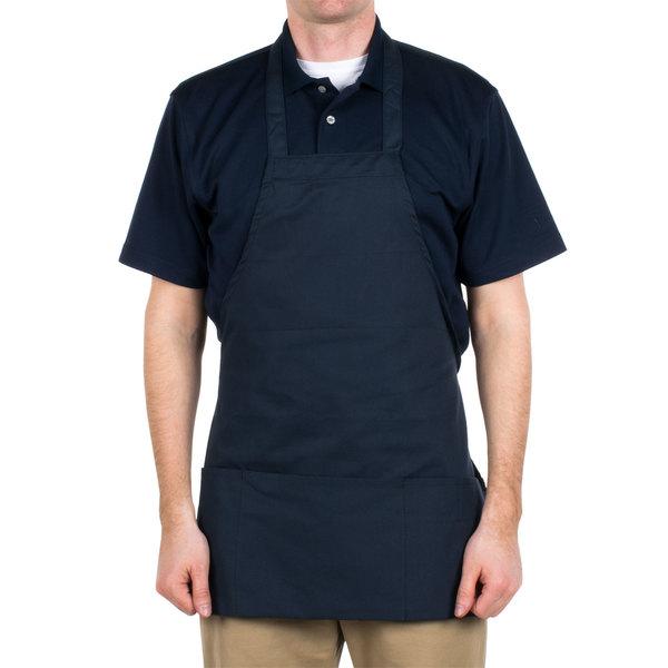 Choice Navy Full Length Bib Apron with Pockets - 25 inchL x 28 inchW