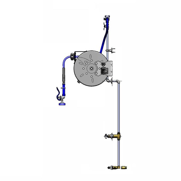 """T&S B-1432-7122-C01 30' Enclosed Hose Reel with 3"""" Centers, EB-0107 Spray Valve, Control Valve, Concealed Piping, Check Valves, and Continuous Pressure Vacuum Breaker"""