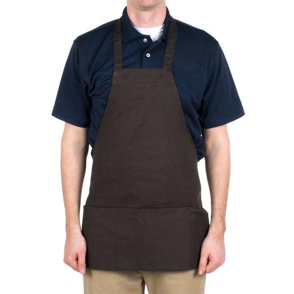 "Choice Brown Full Length Bib Apron with Pockets- 25""L x 30""W"