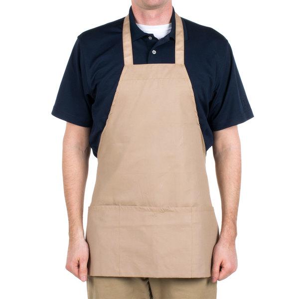 "Choice Khaki / Beige Full Length Bib Apron with Pockets - 25""L x 28""W"