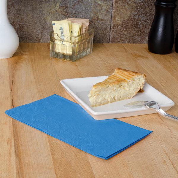 "Marina Blue Paper Dinner Napkins, 2-Ply, 15"" x 17"" - Hoffmaster 180544 - 125/Pack"