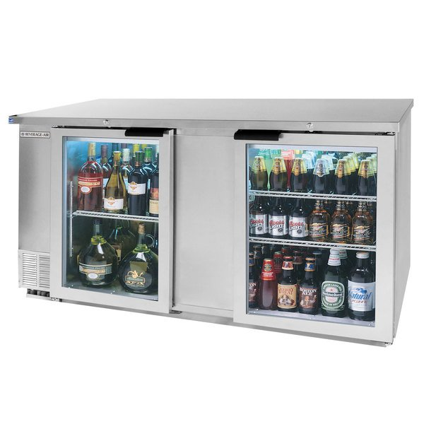 """Beverage-Air BB68HC-1-FG-S 68"""" Stainless Steel Food Rated Glass Door Back Bar Cooler with Two Doors Main Image 1"""