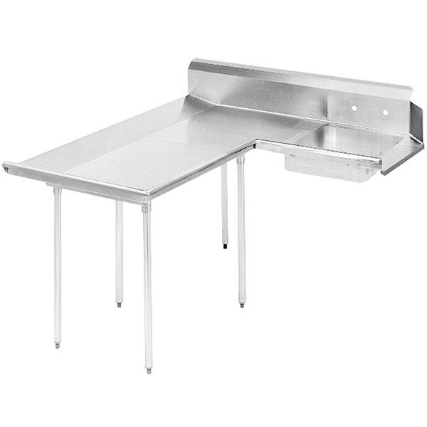 Left Table Advance Tabco DTS-D60-60 5' Super Saver Stainless Steel Dishlanding Soil L-Shape Dishtable