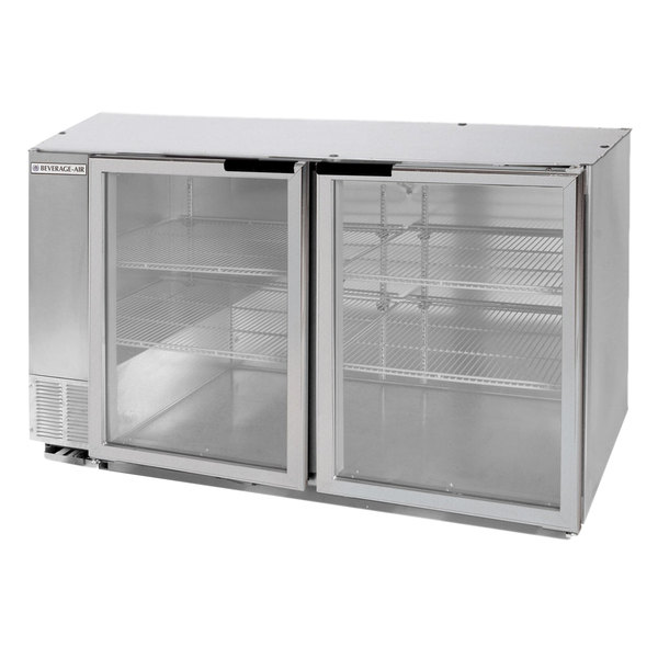 """Beverage Air BB58GF-1-S-LED 58"""" Stainless Steel Food Rated Glass Door Back Bar Cooler with Two Doors"""