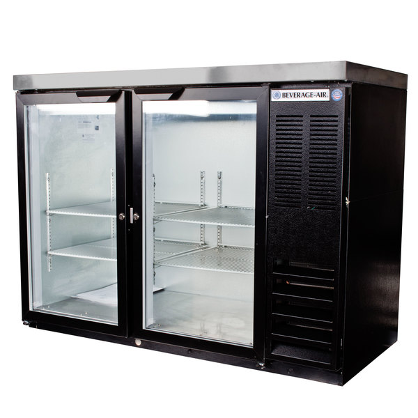 """Beverage-Air BB48HC-1-FG-B-27 48"""" Back Bar Refrigerator with Black Exterior, 2 Glass Doors, and Stainless Steel Top - 115V"""