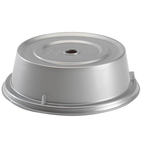 """Cambro 909CW486 Camwear Camcover 9 3/4"""" Silver Metallic Plate Cover - 12/Case"""