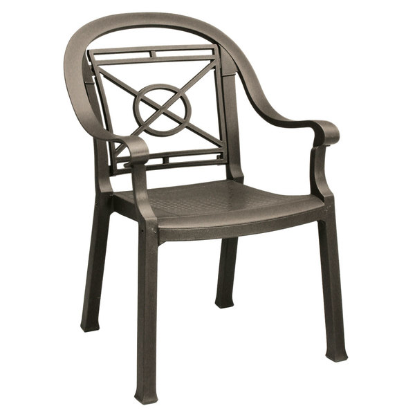 Pack of 4 Grosfillex 46214037 / US214037 Victoria Bronze Mist Classic Stacking Resin Armchair