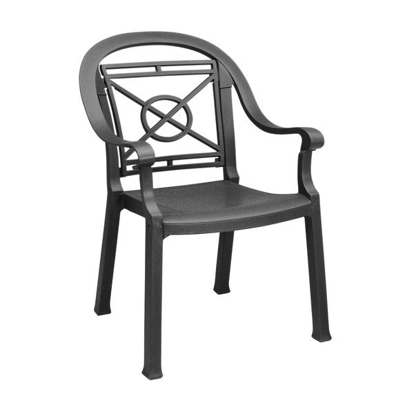 Case of 12 Grosfillex 46214002 / US214002 Victoria Charcoal Classic Stacking Resin Armchair