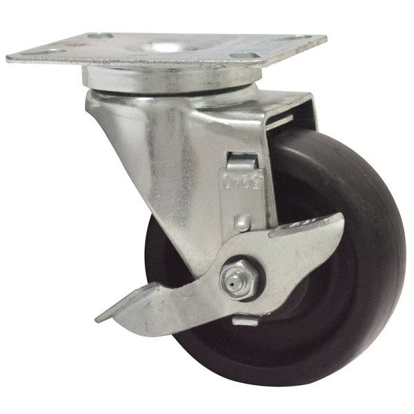 """Advance Tabco RA-35 4"""" Swivel Plate Caster with Brake and Built-In Zerk Grease Fitting"""