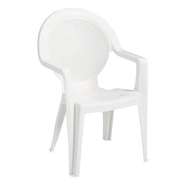 Pack of 4 Grosfillex US421004 / 99421004 Trinidad White Stacking Resin Armchair