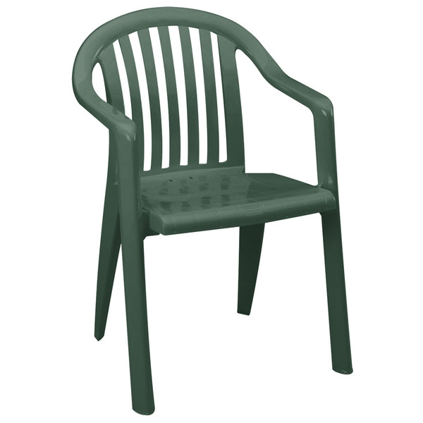 Pack of 4 Grosfillex US282378 / US023078 Miami Amazon Green Lowback Stacking Resin Armchair
