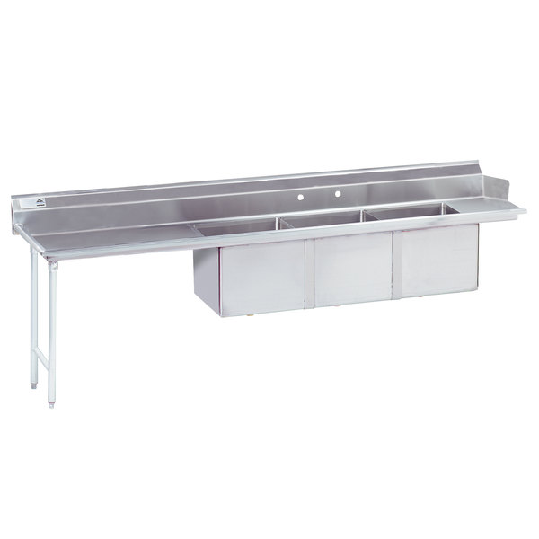 """Left Table Advance Tabco DTC-3-2020-120 10' Stainless Steel Soil Straight Dishtable with 3-Compartment Sink - 20"""" x 20"""" Bowls"""