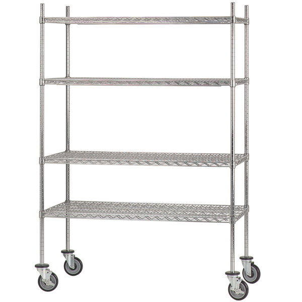 """Advance Tabco MC-2460R Chrome Plated Mobile Wire Shelving Unit with Rubber Swivel Casters - 24"""" x 60"""""""