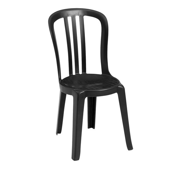 Pack of 4 Grosfillex US495517 / US495017 Miami Bistro Black Outdoor Stacking Resin Sidechair