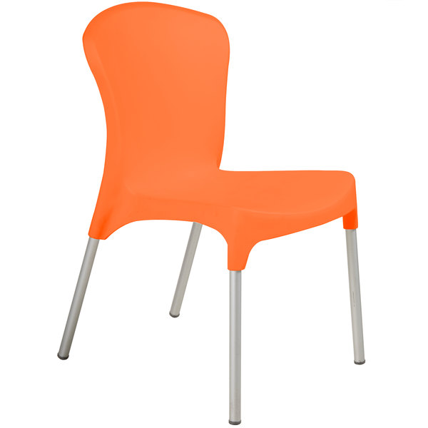 BFM Seating SA21524OR Lola Outdoor / Indoor Stackable Resin Side Chair - Orange