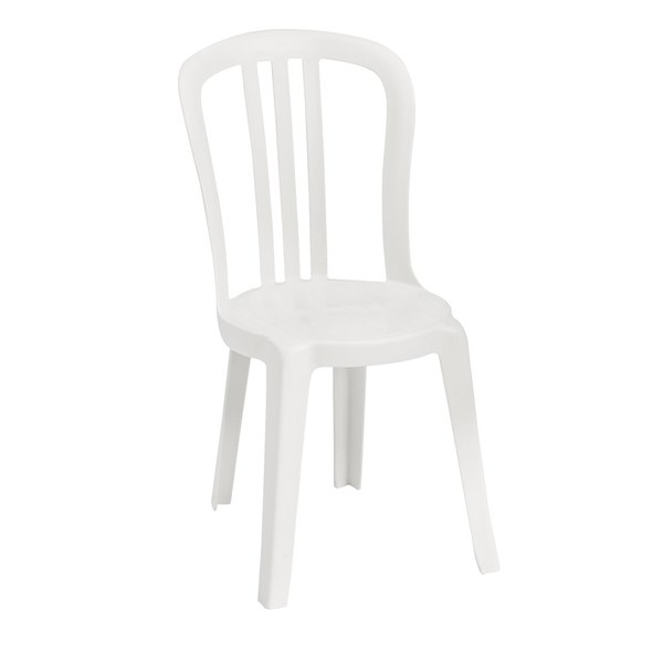 Pack of 4 Grosfillex US495504 / US495004 Miami Bistro White Outdoor Stacking Resin Sidechair