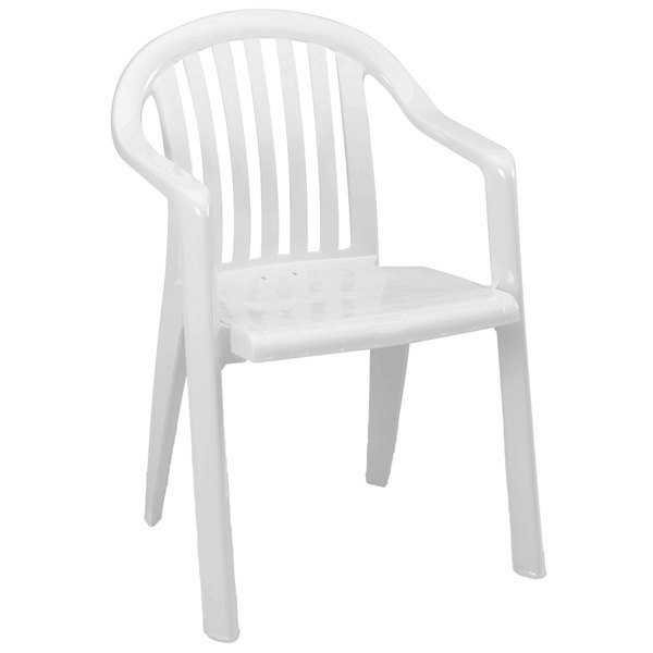 Pack of 4 Grosfillex US282304 / US023004 Miami White Lowback Stacking Resin Armchair