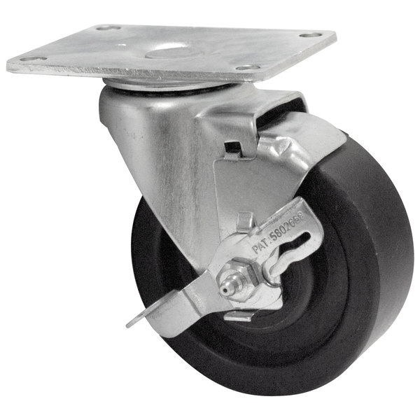 "Advance Tabco RA-45 4"" Hi-Temp Oven Rack Swivel Plate Caster with Brake Main Image 1"