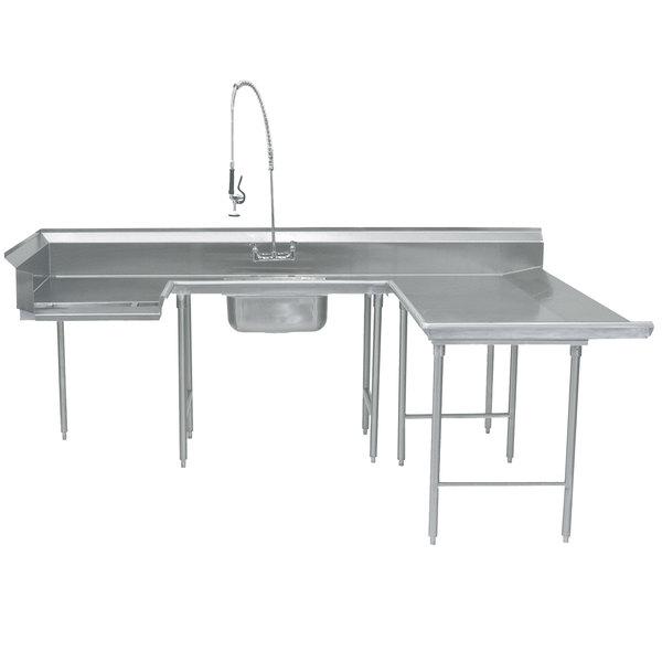"""Right Table Advance Tabco DTS-U30-132 132"""" U Shape Soil Dishtable"""