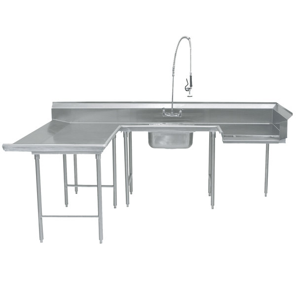 """Left Table Advance Tabco DTS-U30-144 144"""" U Shape Soil Dishtable"""