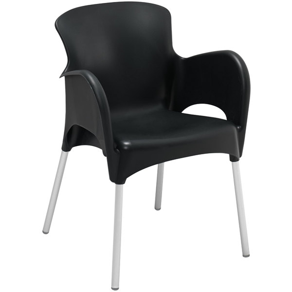 Stackable Resin Arm Chair Black Main Picture