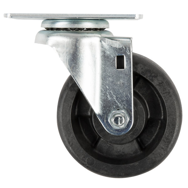"Advance Tabco RA-40 Equivalent 4"" Hi-Temp Oven Rack Swivel Plate Caster with Built-In Zerk Grease Fitting Main Image 1"