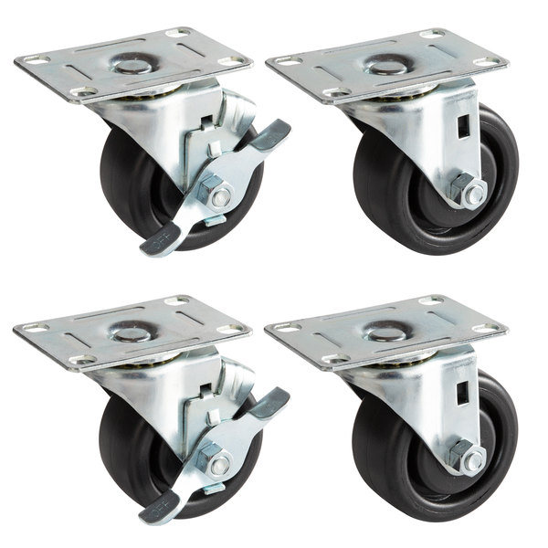 """Beverage-Air 00C31-034ABB Equivalent 3"""" Plate Casters for DW49 Series Bottle Coolers - 4/Set Main Image 1"""