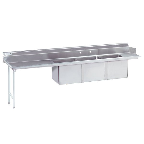 """Left Table Advance Tabco DTC-3-1620-84 7' Stainless Steel Soil Straight Dishtable with 3-Compartment Sink - 16"""" x 20"""" Bowls"""