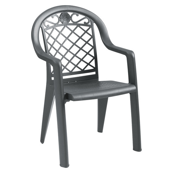 Pack of 4 Grosfillex US103102 / US413102 Savannah Charcoal Highback Stacking Resin Armchair