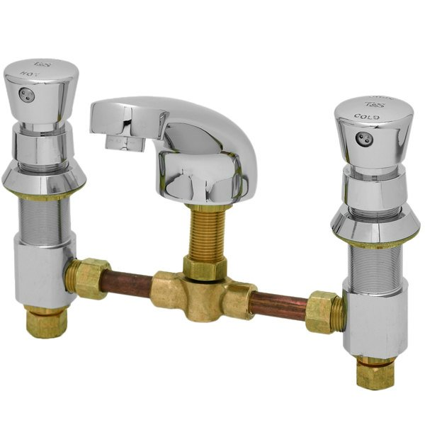 """T&S B-2483 Vandal Resistant Deck Mount Slow Self-Closing Metering Faucet with 6"""" - 24"""" Adjustable Centers and Push Button Caps"""