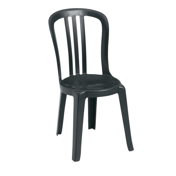 Case of 32 Grosfillex US495502 / US495002 Miami Bistro Charcoal Outdoor Stacking Resin Sidechair