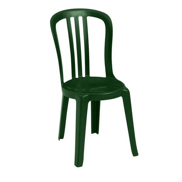 Pack of 4 Grosfillex US495578 / US495078 Miami Bistro Amazon Green Outdoor Stacking Resin Sidechair