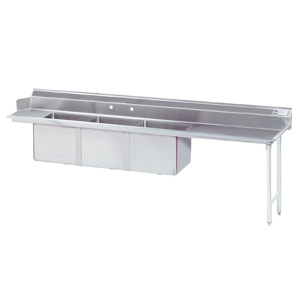 """Right Table Advance Tabco DTC-3-2020-120 10' Stainless Steel Soil Straight Dishtable with 3-Compartment Sink - 20"""" x 20"""" Bowls"""