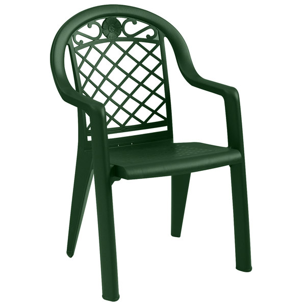 Pack of 4 Grosfillex US103185 / US413185 Savannah Metal Green Highback Stacking Resin Armchair