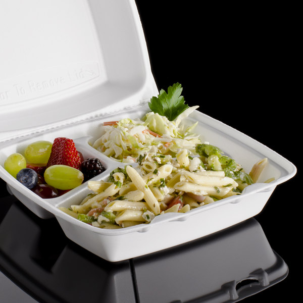 """Dart 85HT3R 8"""" x 8"""" x 3"""" White Foam Three-Compartment Square Take Out Container with Perforated Hinged Lid - 200/Case"""