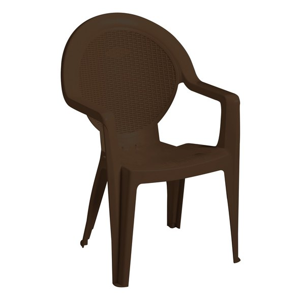 Case of 24 Grosfillex US421037 / 99421037 Trinidad Bronze Mist Stacking Resin Armchair
