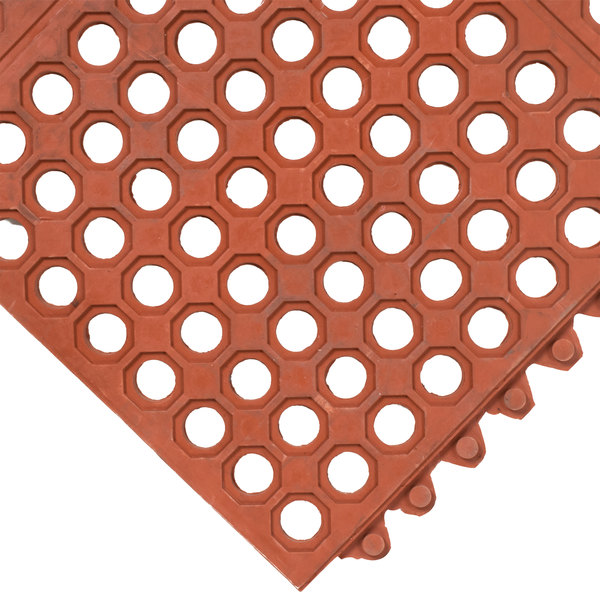 "Cactus Mat 2523-R VIP Prima 3' x 3' Red Connectable Grease-Resistant Anti-Fatigue Floor Mat - 1/2"" Thick"