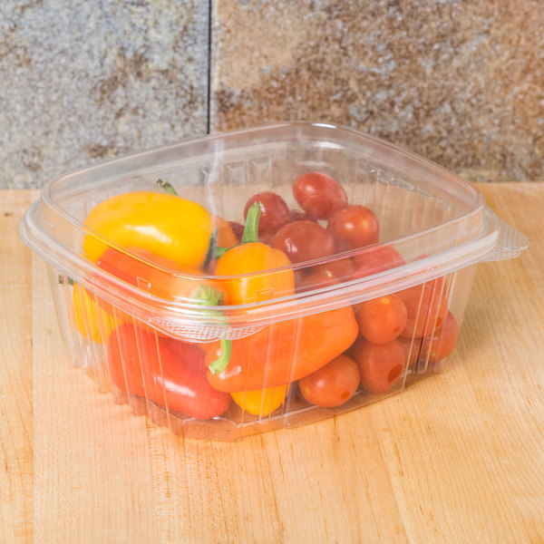 Genpak AD32F 32 oz. Clear Hinged Deli Container with High Dome Lid - 100/Pack