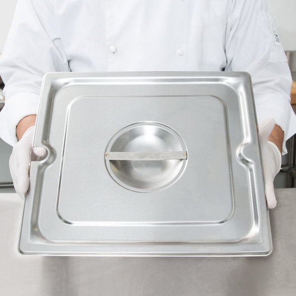 Vollrath 94110 2/3 Size Long Stainless Steel Slotted Cover for Super Pan 3